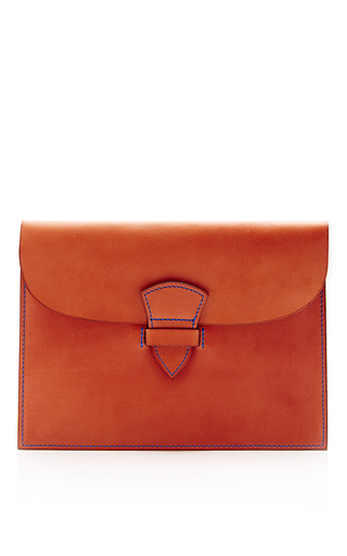 Medium Leather Promenade Clutch In Cognac And Blue  by MAISON THOMAS Now Available on Moda Operandi
