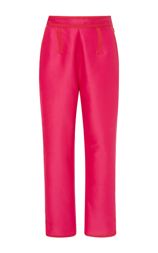 Fuchsia Cotton Silk Pants With Grosgrain Trim by ISA ARFEN Now Available on Moda Operandi