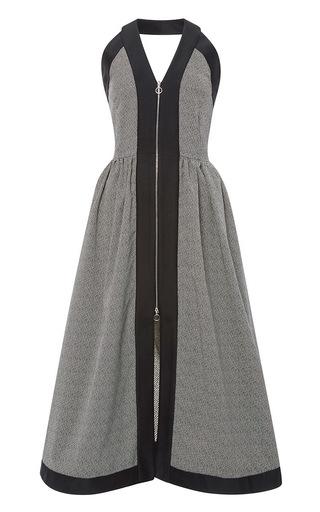 Medium isa arfen dark grey stripe jacquard zip up long halterneck dress