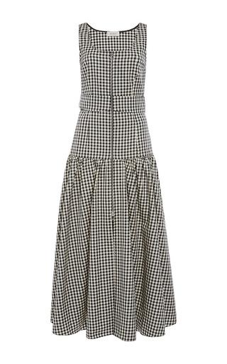 Medium isa arfen black cotton vichy zip up sporty dress