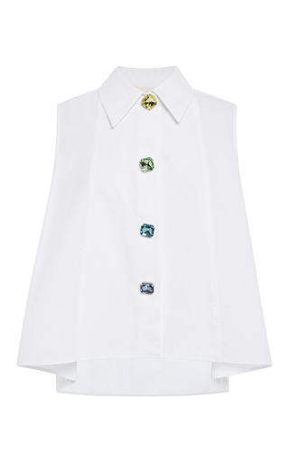 Cotton Sleeveless Shirt With Crystal Buttons by ISA ARFEN Now Available on Moda Operandi