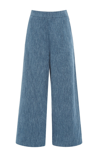 Medium isa arfen medium wash linen denim classic culottes