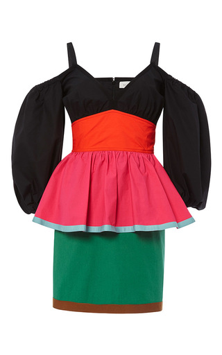 Cotton Color Blocked Off The Shoulder Mini Dress by ISA ARFEN Now Available on Moda Operandi