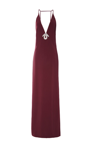 Medium temperley london burgundy long bowery v neck dress