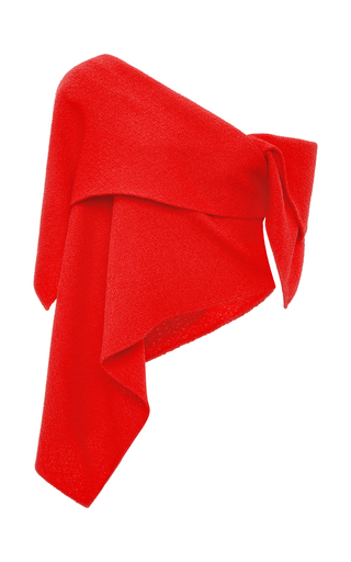 Red Textured Wool Robert Morris Top by ROSIE ASSOULIN Now Available on Moda Operandi