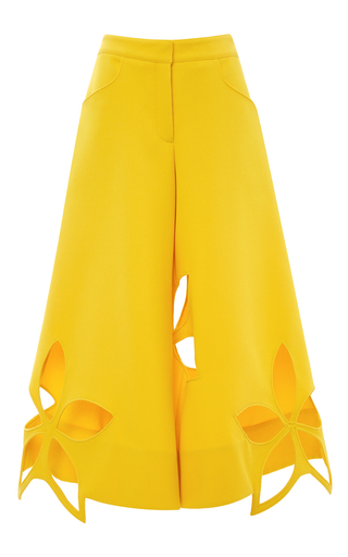 Medium rosie assoulin yellow waffle cotton flower stamp pant