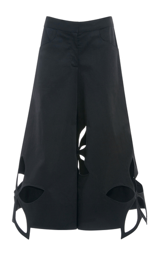 Medium rosie assoulin black cotton twill flower cut out pants