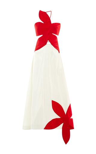 Medium rosie assoulin white silk flower stamp bicolor gown