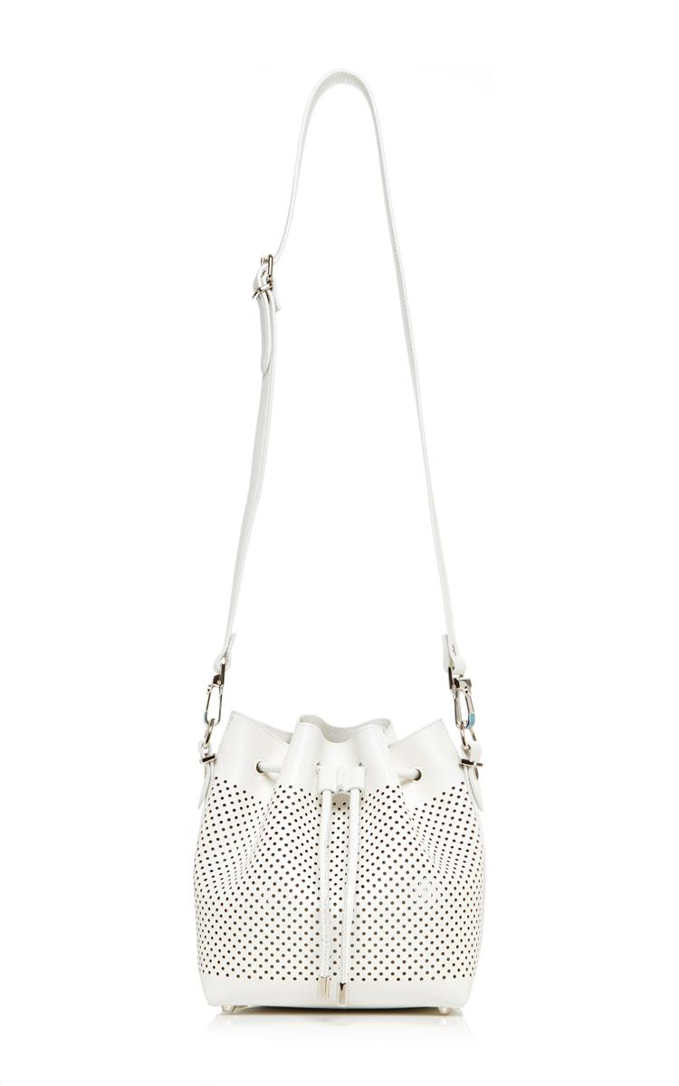 Small White Leather Perforated Bucket Bag by Proenza   Moda Operandi