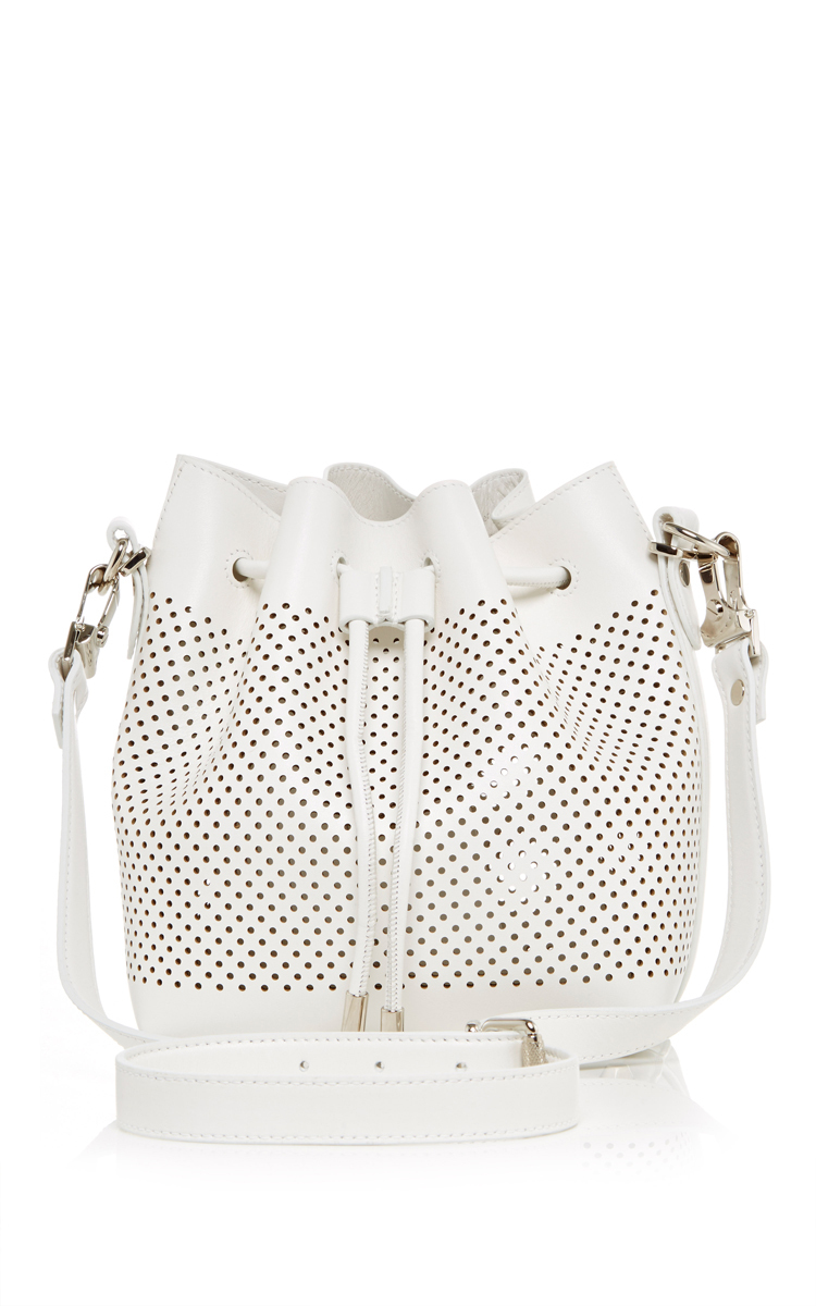 Proenza Schoulersmall White Leather Perforated Bucket Bag Close Loading