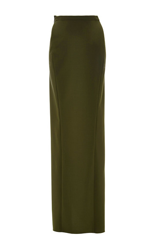 Medium zac posen green olive tropical wool wraparound skirt