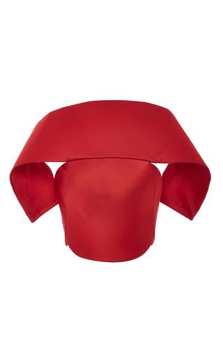Medium zac posen red red duchesse satin cropped shawl front corset