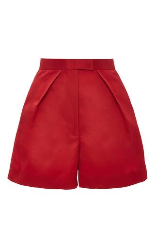 Medium zac posen red duchesse satin pleat front shorts