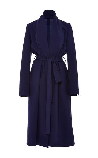 Medium zac posen navy tropical wool robe coat