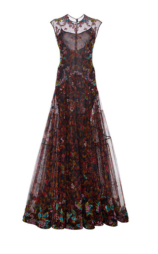 Medium zac posen red blossom tulle pleated gown
