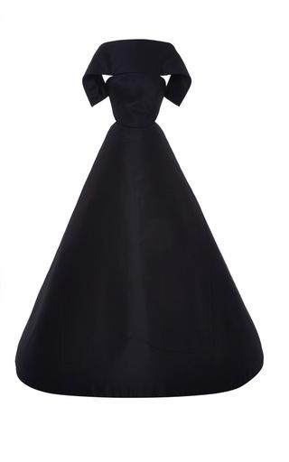 Medium zac posen navy silk faille off the shoulder gown