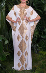 Ivory And Gold Caftan by NAEEM KHAN Now Available on Moda Operandi