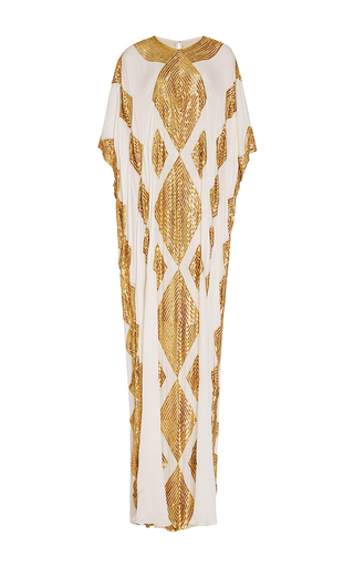Medium naeem khan white ivory and gold caftan