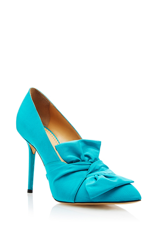 Blue Silk And Leather Lynn Pumps With Bow by CHARLOTTE OLYMPIA Now Available on Moda Operandi