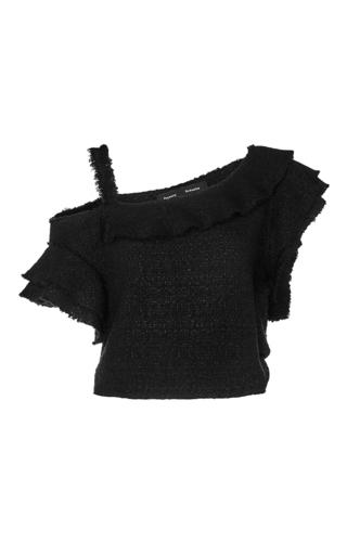 Medium proenza schouler black asymmetric cropped top with ruffles