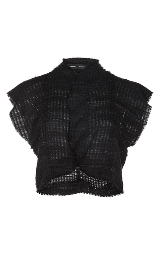 Open Weave Tweed Cropped Top by PROENZA SCHOULER Now Available on Moda Operandi