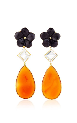 Medium bahina multi 18k yellow gold earstuds with black onyx flower rock crystal and carnelian