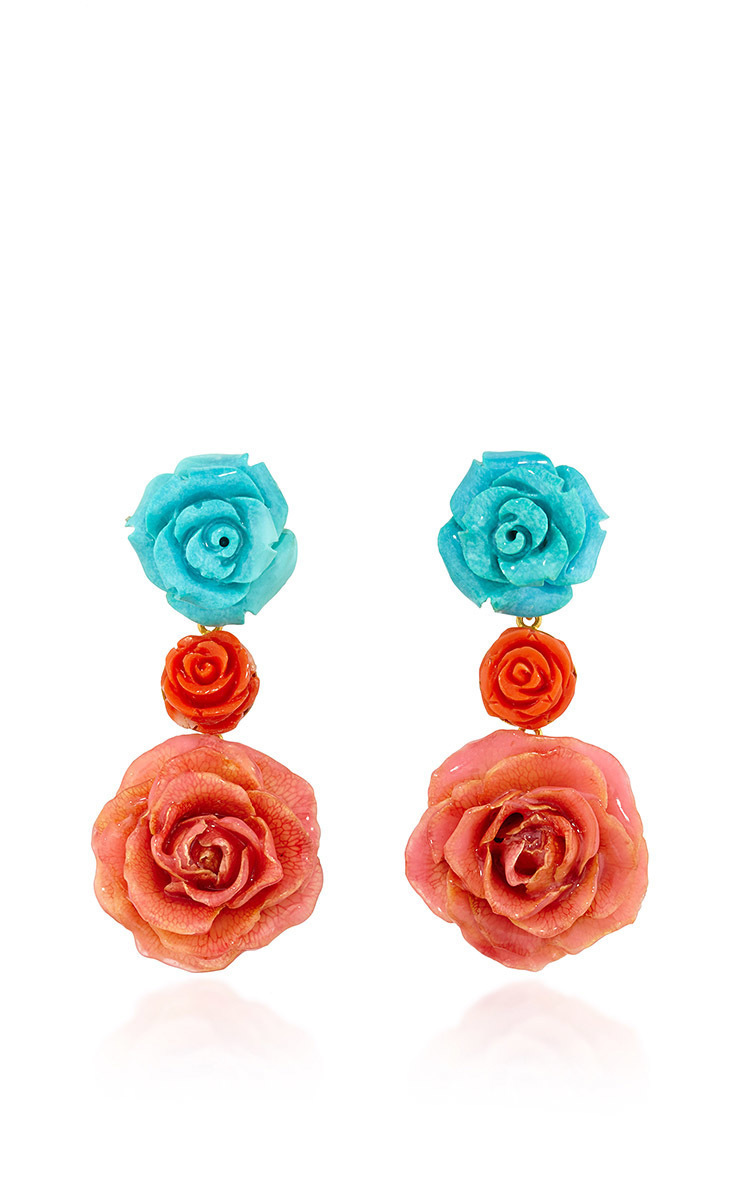 18k Yellow Gold Earstuds With Turquoise Flowers Coral Moda Operandi
