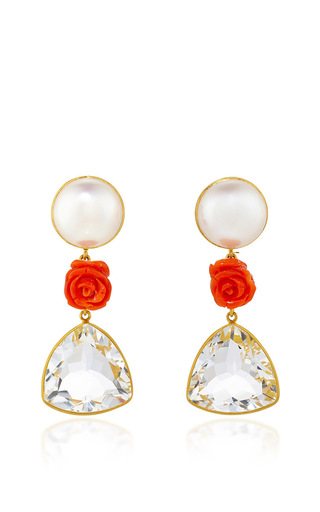 Medium bahina multi 18k yellow gold ear studs with pearl coral flower and rock crystal