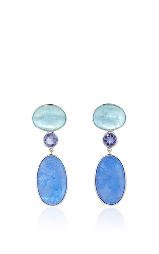 Medium bahina multi 18k white gold ear studs with light and dark blue venetian glass cameos mother of pearl and iolite
