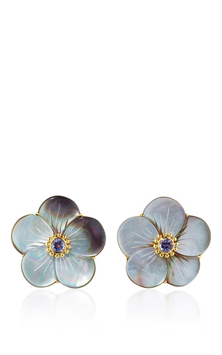 Medium bahina multi 18k yellow gold ear studs with gray mother of pearl rose and iolite
