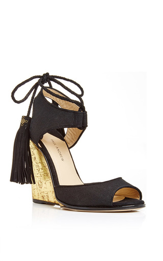Tianjin Glitter Wedge Heels With Tasseled Ankle Tie by PAUL ANDREW Now Available on Moda Operandi