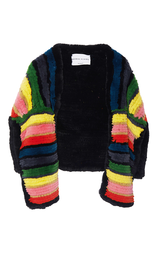 Medium sonia rykiel black knitted rex fur reversible half sweater