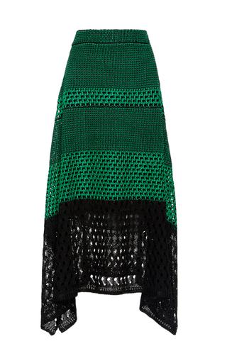Medium proenza schouler green open stitch midi skirt with handkerchief hem
