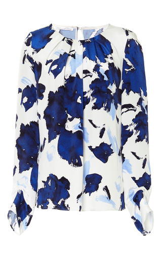Silk Printed Long Sleeved Blouse by OSCAR DE LA RENTA Now Available on Moda Operandi