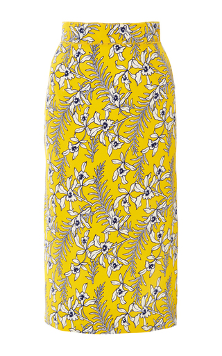 Medium oscar de la renta yellow silk pencil skirt