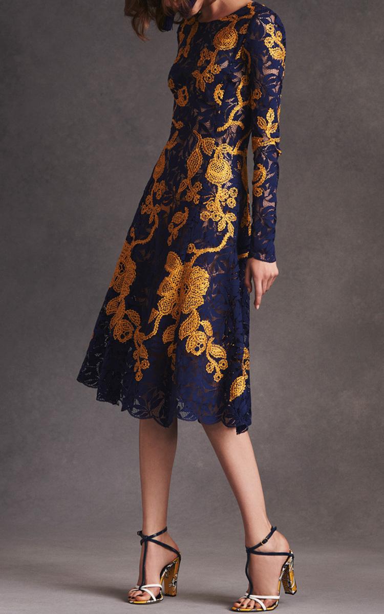 f093e1cc84 Oscar de la RentaNavy and Yellow Embroidered Lace Dress. CLOSE. Loading.  Loading. Loading. Loading