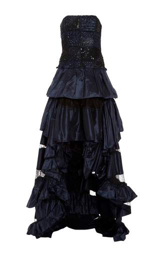 Medium oscar de la renta navy lace and sequin patchwork embroidered high low gown