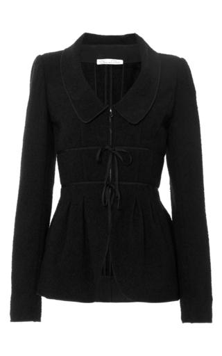 Medium oscar de la renta black black wool blend jacket with chelsea collar