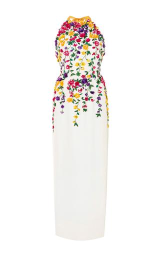 Medium oscar de la renta white silk halter neck gown with 3d floral embroidery