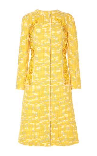 Medium oscar de la renta yellow jewel neck raffia and bead embroidered coat