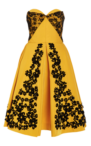 Medium oscar de la renta yellow sweetheart lace and floral embroidered dress