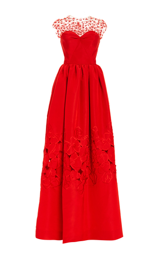 Medium oscar de la renta red illusion neck floral threadwork embroidered gown