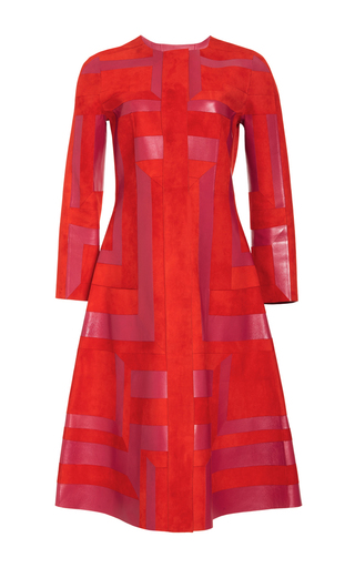 Medium oscar de la renta red jewel neck a line coat