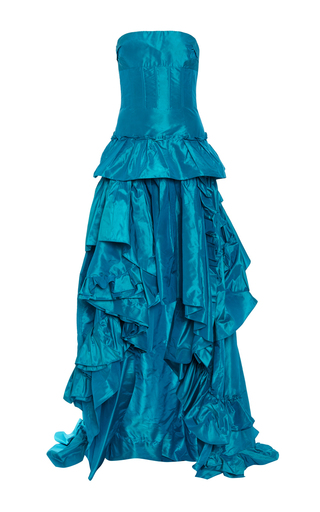 Medium oscar de la renta turquoise tiered ruffle high low gown