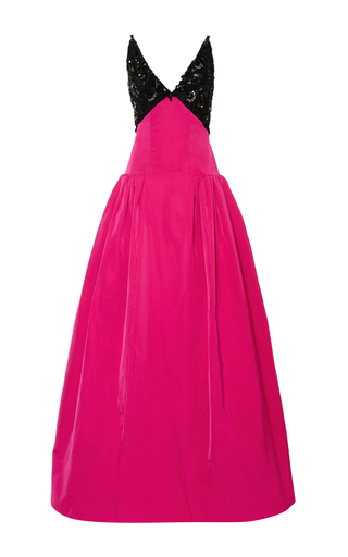 Medium oscar de la renta fuchsia v neck sequin and bead embroidered gown