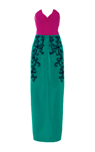 Medium oscar de la renta turquoise classic sweetheart raffia and bead embroidered gown