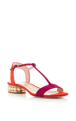 Casati Pearl Suede T Strap Sandals by NICHOLAS KIRKWOOD Now Available on Moda Operandi