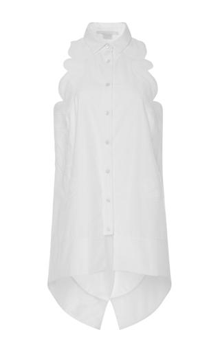Medium antonio berardi white scalloped sleeveless button up shirt