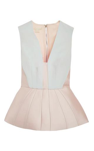 Medium antonio berardi light blue satin sleeveless peplum top