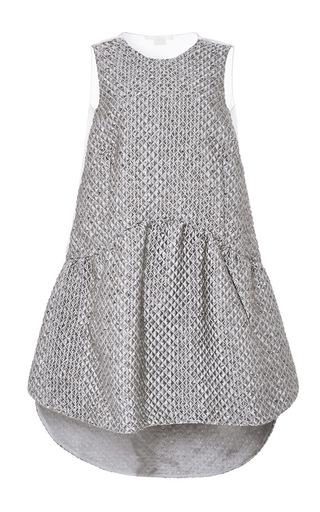 Medium antonio berardi light grey quilted jacquard drop waist dress
